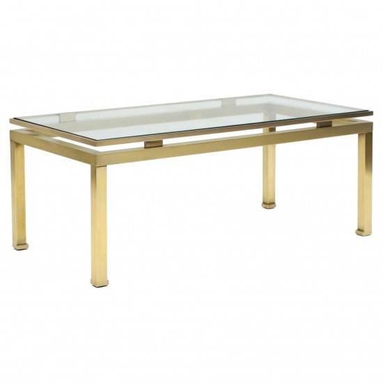 French Brass and Glass Coffee Table