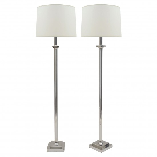 Pair of Silver Plated Standing Lamps