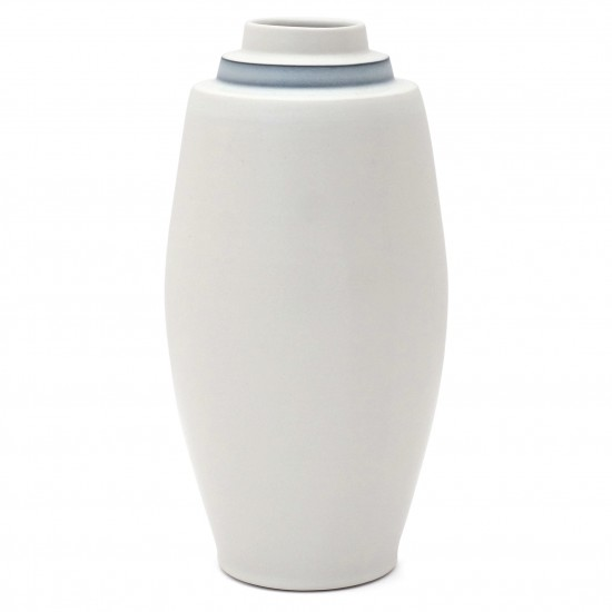 Tall White Porcelain Stepped Vase with Blue Band