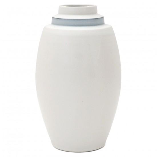 Medium White Porcelain Stepped Vase with Blue Band