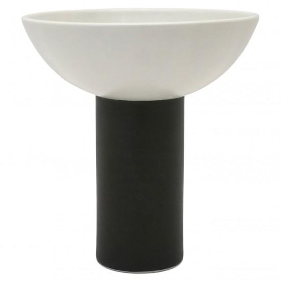 Medium Black and White Porcelain Pedestal Bowl