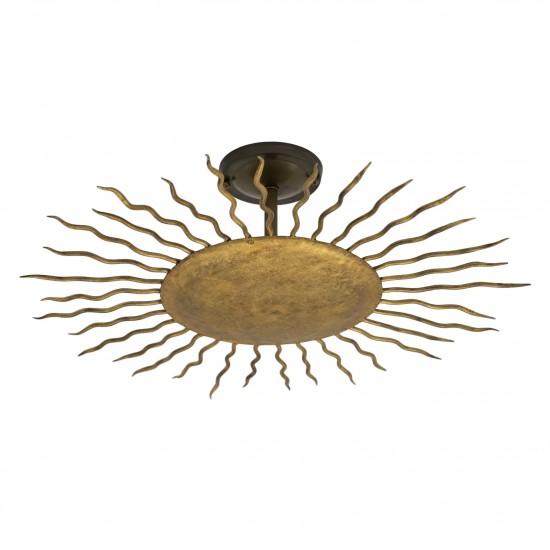 Gilt Iron Starburst Light Fixture