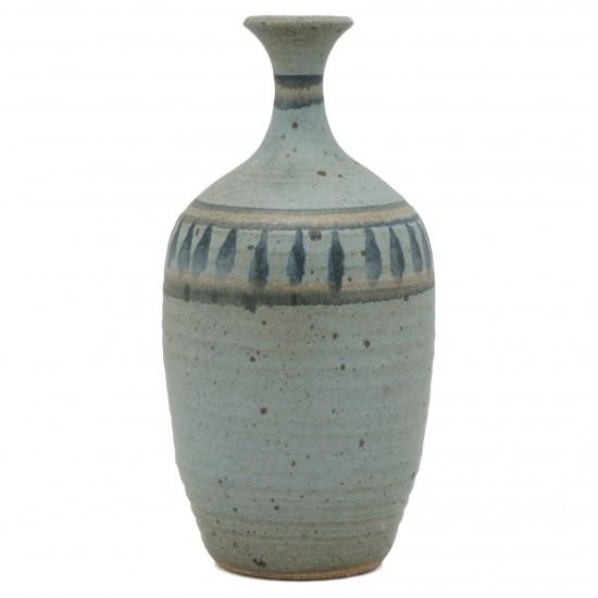 Studio Art Stoneware Vase in Blues and Beige